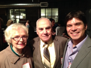 Ruth and Joe Matarazzo with Travis Lovejoy in February 2014 at a Division 38 Membership event in Portland, OR. Dr. Matarazzo was the first President of Division 38; Dr. Lovejoy is the current Chair of the Early Career Professionals Council.