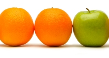 Two oranges and one green apple in a row.
