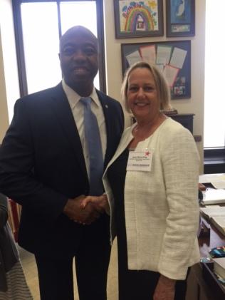 Senator Tim Scott (R-SC), with Dawn K. Wilson, PhD (SfHP Past-President)