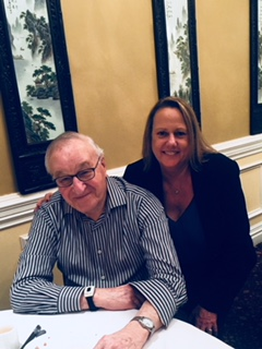 Past President Dawn Wilson with Professor Albert Bandura at Pai Tan for Lunch near Stanford University