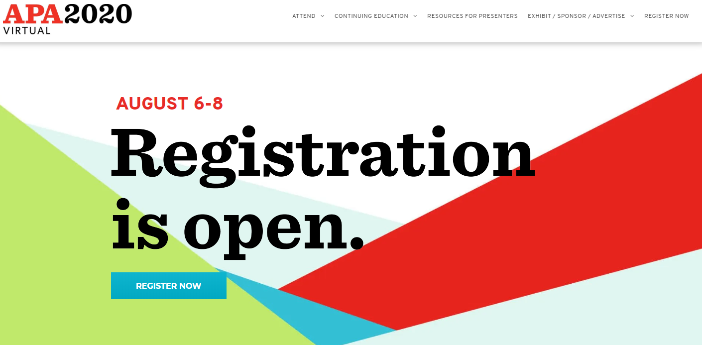 APA 2020 Registration is Open